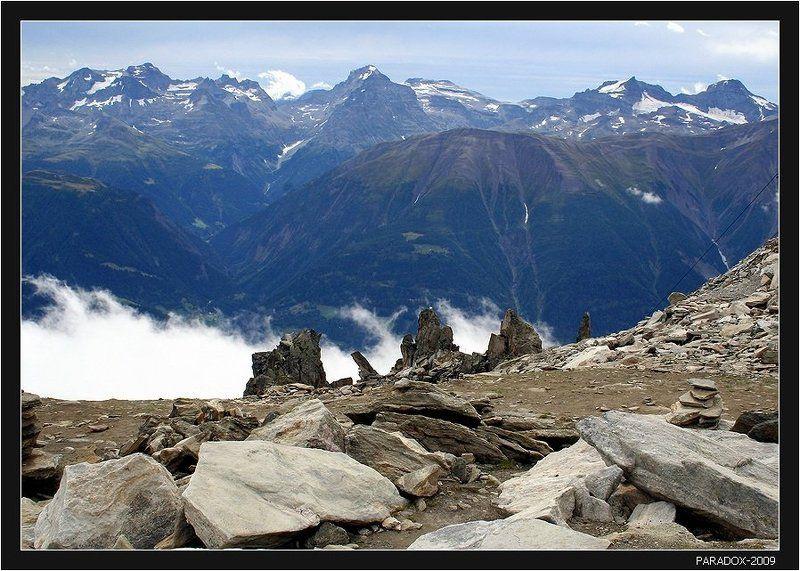 switzerland, eggishorn, aletsch, glacier, альпы, алечский, ледник, туман, облака ,paradox Бодался ледник с туманомphoto preview