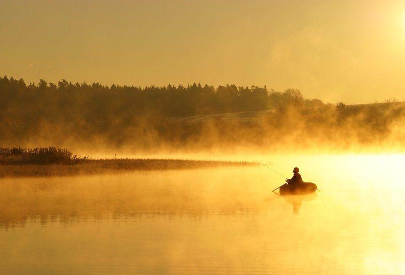 осень, озеро, рассвет, мороз, рыбалка, туман, золото За золотой рыбкой...photo preview