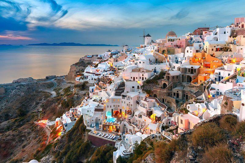 ойя санторини греция закат мельницы Ойя на закатеphoto preview