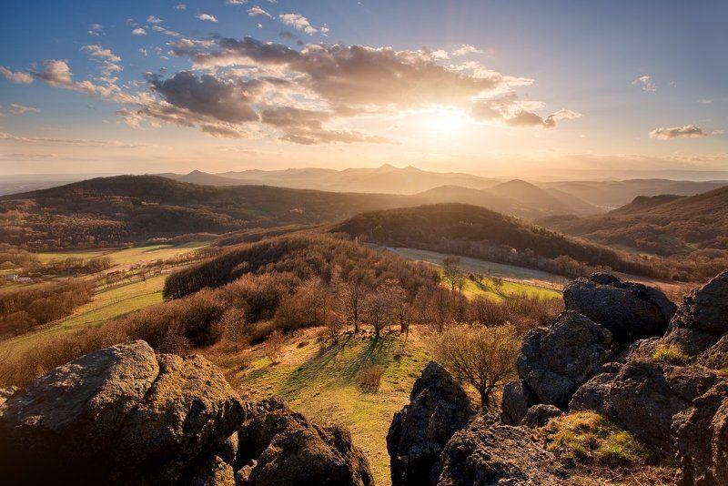 czech republic, Czech central mountains, mountains, rocks, clouds, sunset, meadows Czech central mountainsphoto preview