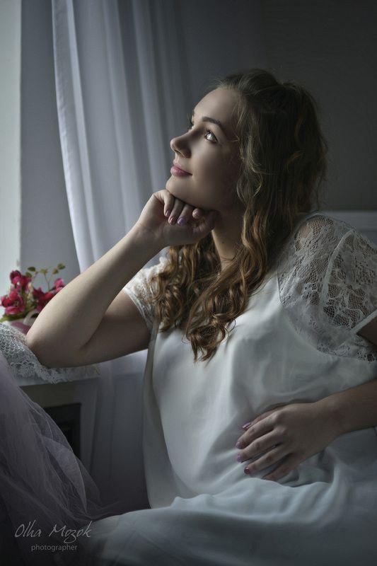 Беременность, Красивая, Нежность, Портрет девушки, Чистота Летели облака...photo preview