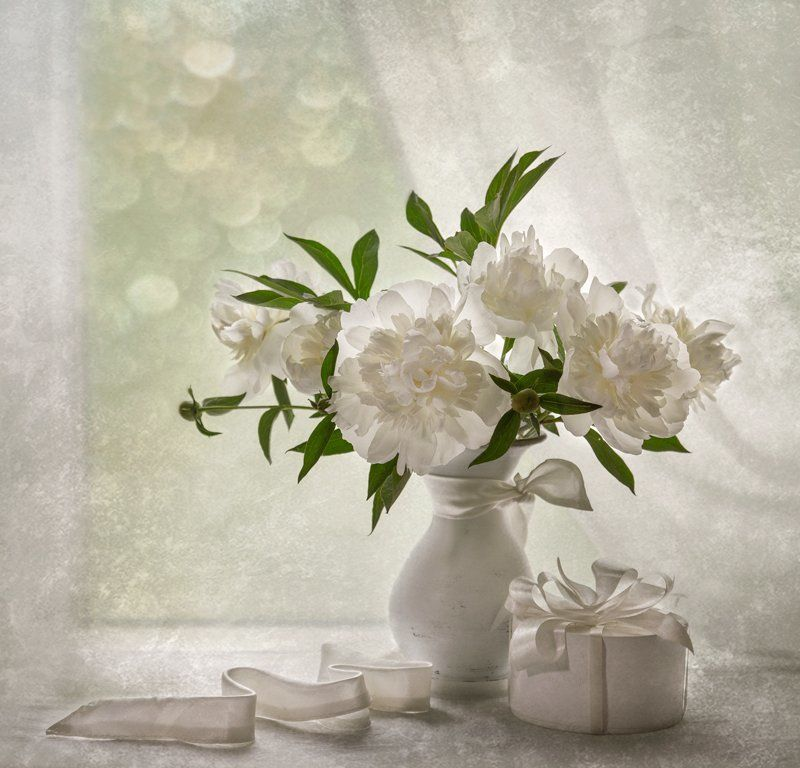 Белые пионы, Весна, Май, Натюрморт, Цветы Белые ...photo preview