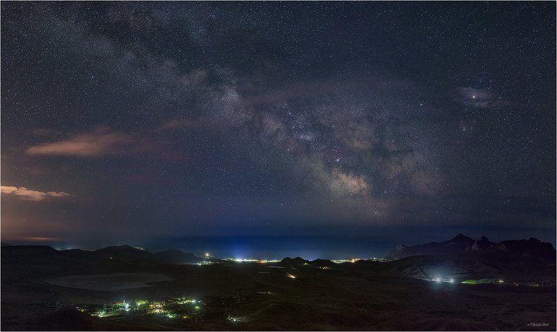 Галактика, Горы, Звездное небо, Звезды, Крым, Млечный путь, Море, Ночь, Панорама, Черное море ...photo preview