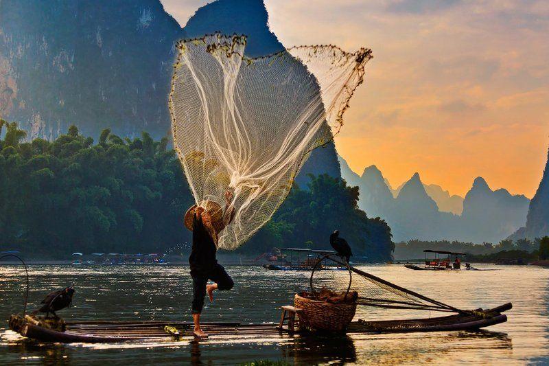 китай, река ли, рыбалка, закат Ловля сетьюphoto preview