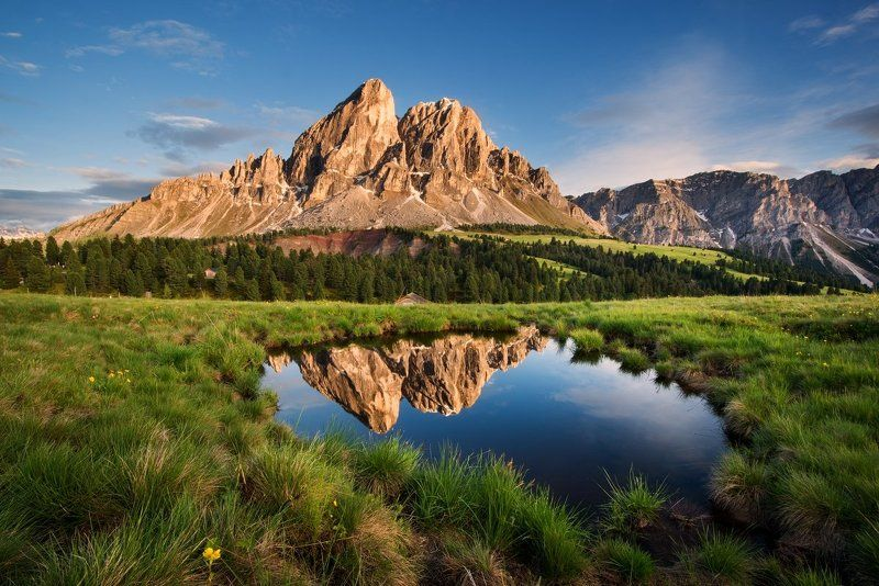 Dolomites, Italy, passo Erbe, beautiful place, beautiful, rocks, meadows, clouds, sunset, water Dolomitesphoto preview
