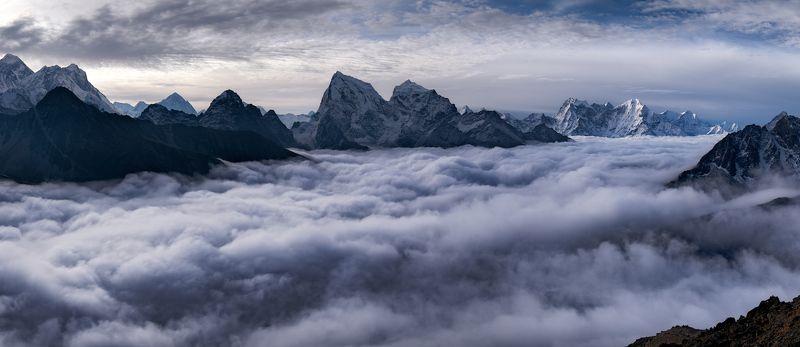 Гималаи, Гокио Ри, Непал, Облака, Рассвет Облачная рекаphoto preview
