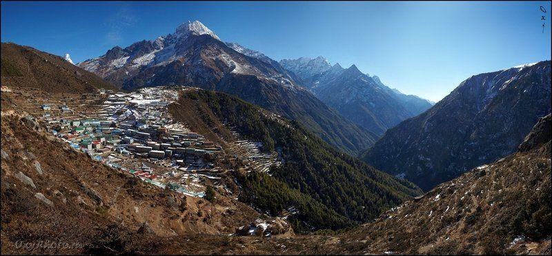 непал, гималаи, трек к бл эвереста, nepal, himalaya, trek to bc everest, панорама, panorama Намче Базар.photo preview