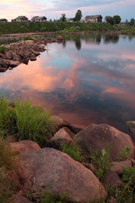 карелия, шуерецкое, река, валуны, белая ночь, облака Белые ночи??photo preview