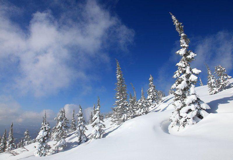 зима, горы, шерегеш на склонеphoto preview