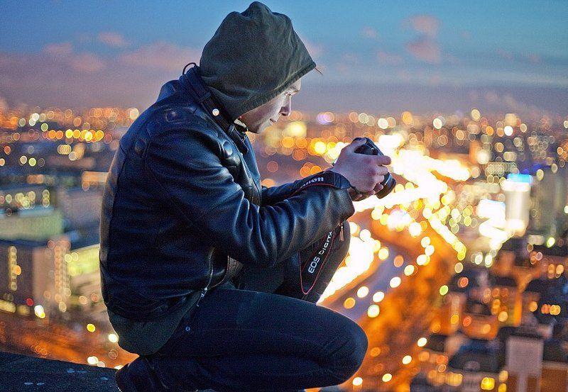 крыша, крыши, город, москва, вечер, огни, фотограф Просмотрphoto preview