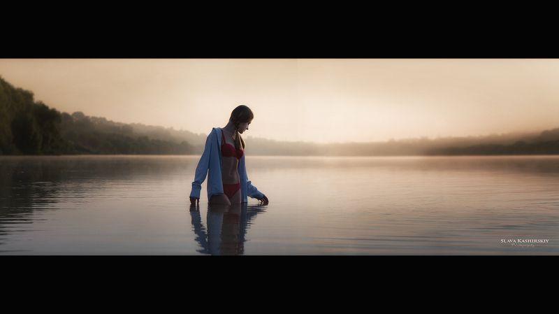 на рвссвете, река, девушка, туманы, восход, tamron На рассветеphoto preview