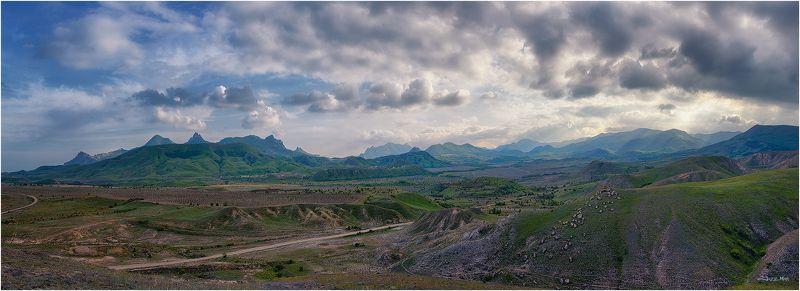 Вечер, Горы, Долина, Закат, Коктебель, Крым, Небо, Облака, Панорама, Пейзаж ...photo preview