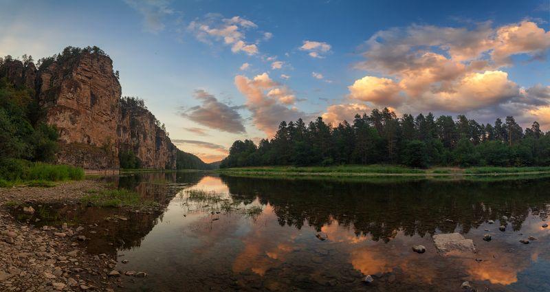 закат, река, скалы Тихий вечер у Больших Притёсовphoto preview