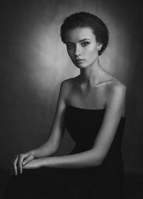 Девушка, Портрет, Свет, Студия, Тень, Черно-белое Настяphoto preview