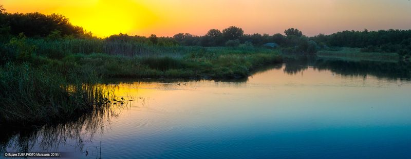 Zubr.photo, Закат, Панорама, Пейзаж, Река, Ростовская область, Чумбурка Тихие воды мелких рекphoto preview