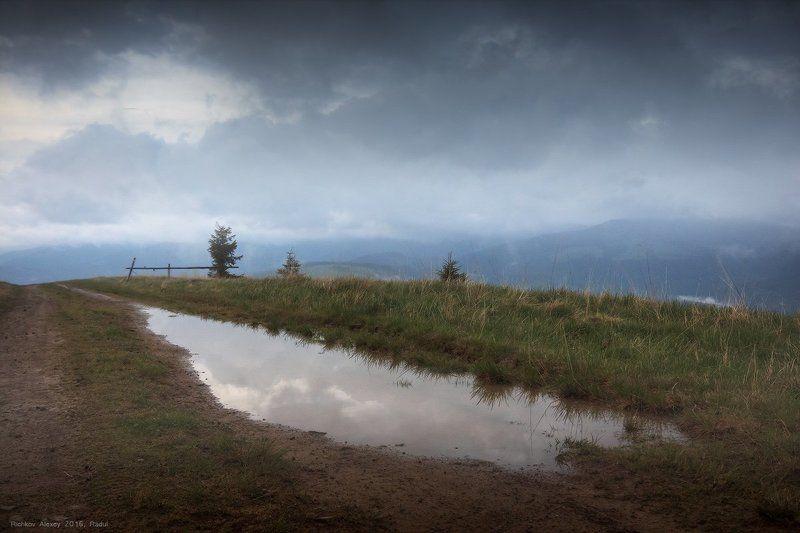горы, карпаты, дождь, непогода, лужа, отражение, зеркало, тучи,  Отражая небесаphoto preview