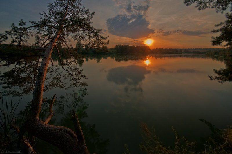Вечер, Закат, Лес, Лето, Озеро Нам сниться будет вечер летний...photo preview
