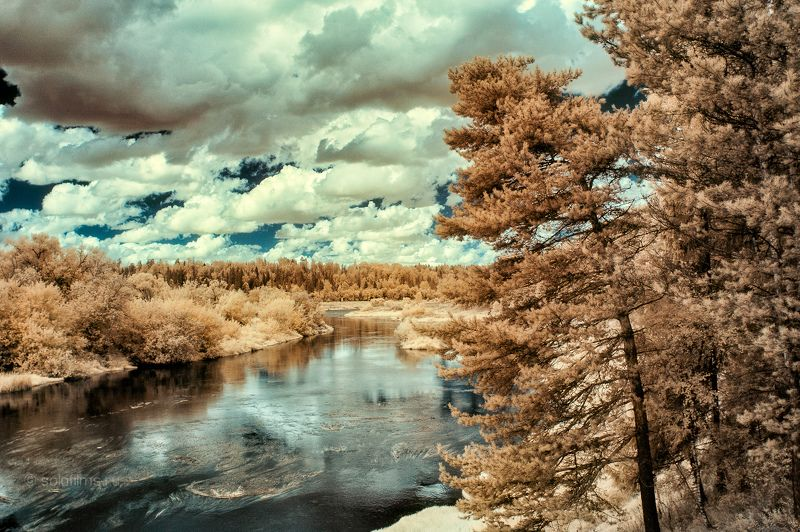 landscape infrared Russia Moscow river clouds Бережкиphoto preview