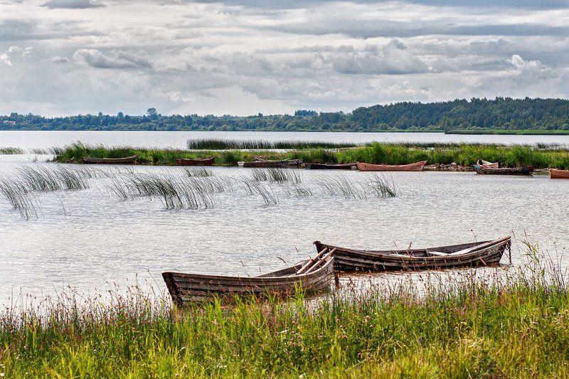 lake, boat, sky, clouds, summer, озеро, лодка, облака, лето, пейзаж, тучи В тихой гаваниphoto preview