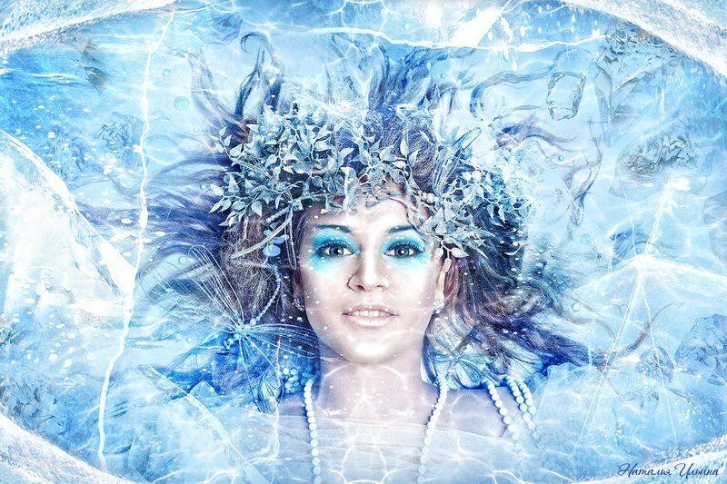 девушка, вода, лед Зимняя водаphoto preview