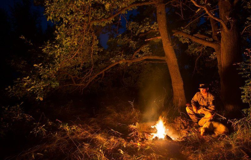 костер, ночь, ночевка, звездное небо, охота, охотник, собака, саров Охотничьи историиphoto preview