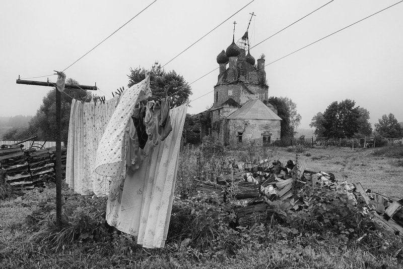 лето, село ширинье, туман, утро, ярославль храм Ветер.photo preview