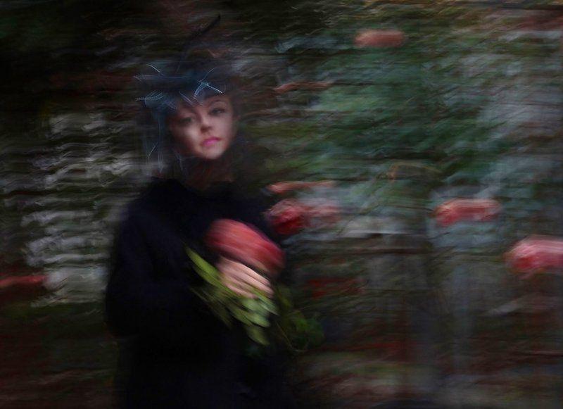 девушка, шляпа, цветок Ностальгическоеphoto preview