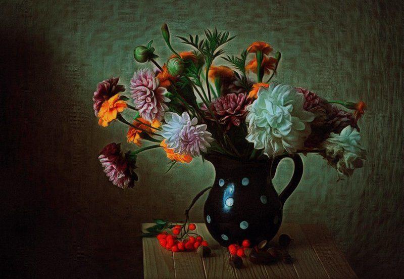 .георгины., Натюрморт, Рябина, Цветы Осенний натюрмортphoto preview