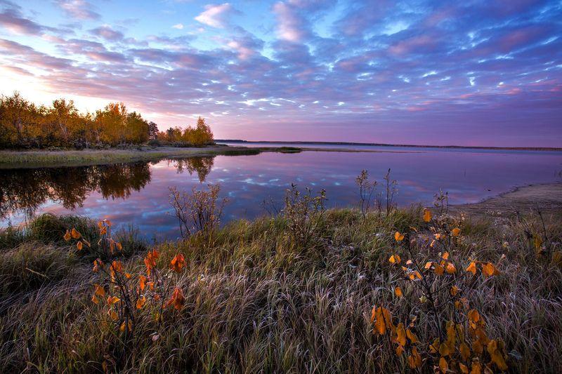 Кондинские озера, Озеро Арантур, Осень, Природный парк, Рассвет, Река, Устье Заморозкиphoto preview