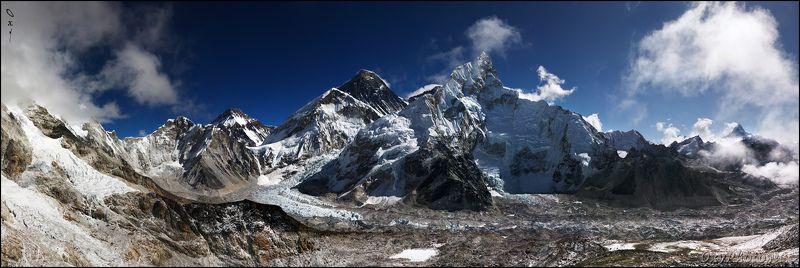 непал, гималаи, трек к бл эвереста, nepal, himalaya, trek to bc everest, эверест, кхумбу, everest, sagarmatha, chomolongma, khumbu glacier, нупцзе, nuptse, pumo ri, lingtren, changtse, lhotse, ama dablam Панорамный вид с вершины Kala Patthar (5550 м).photo preview