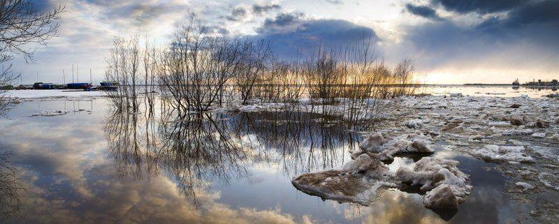 архангельск, ледоход, северная двина, яхт-клуб, половодье, панорама, весна Веснаphoto preview