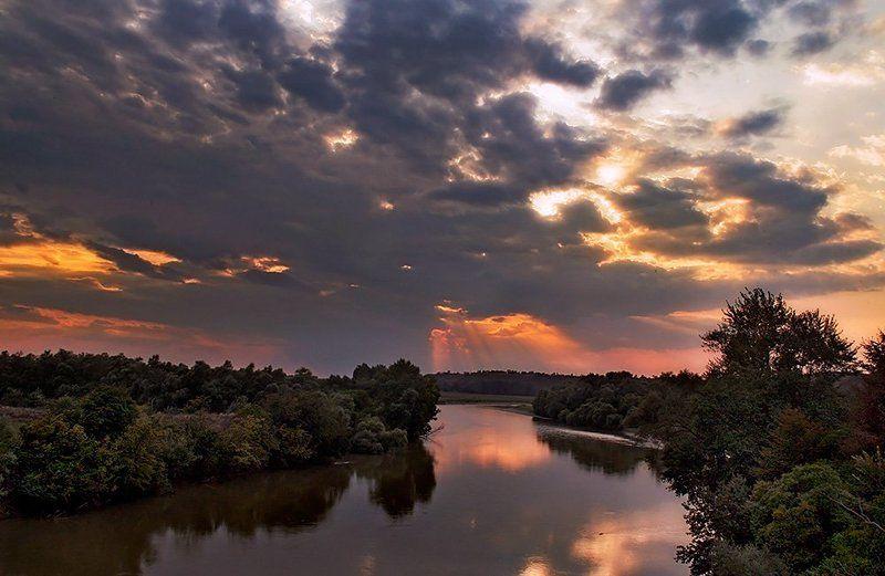 закат, река, адыгея Адыгея. Закат над Лабой.photo preview