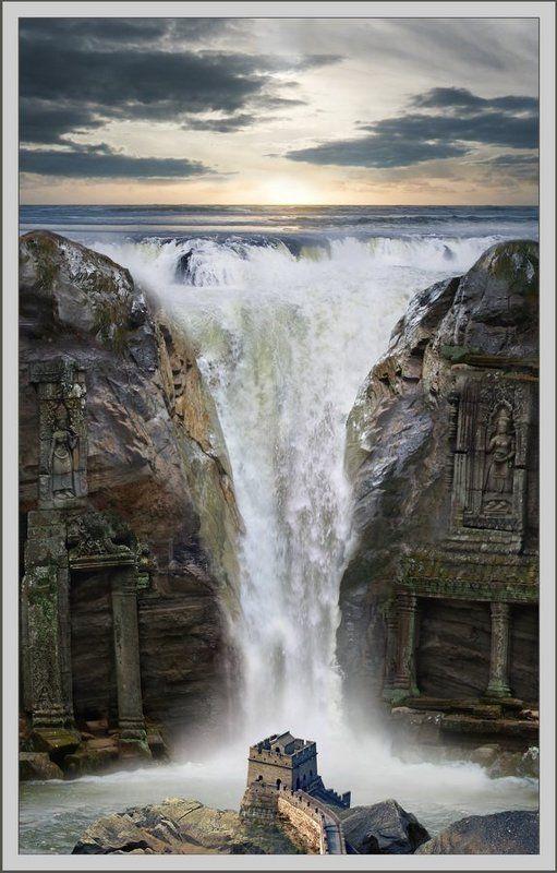 водопад, замок, океан, бесконечность Водопадphoto preview