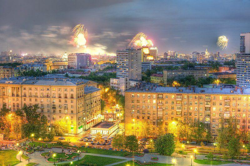 крыша, крыши, город, москва, ночь, салют, праздник, победа Салют 9 маяphoto preview