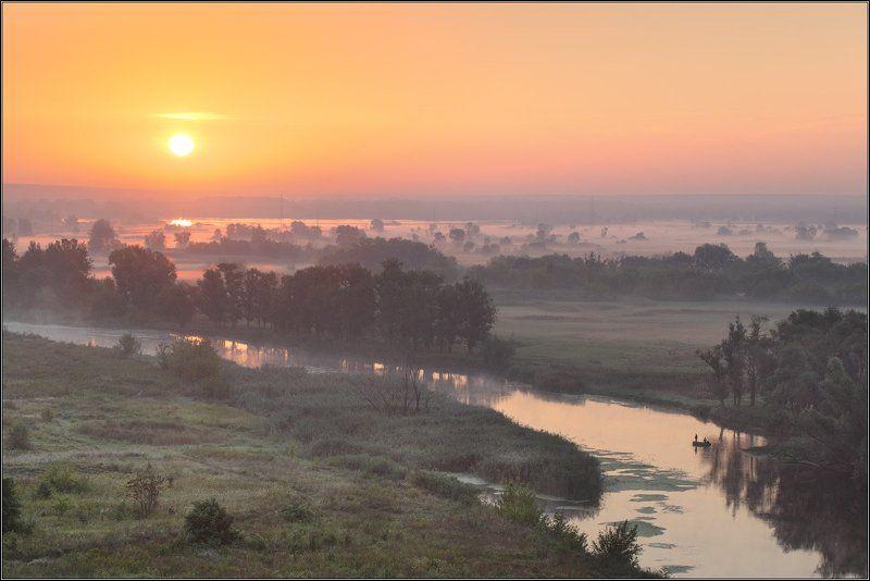 Солнце Туман Река Рыбалкаphoto preview