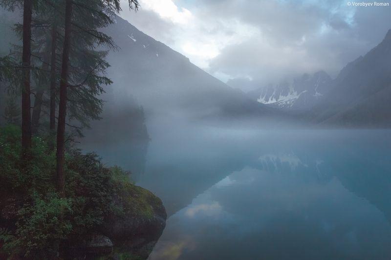 Алтай, Горное озеро, Горы, Озеро, Отражение, Туман after rainphoto preview