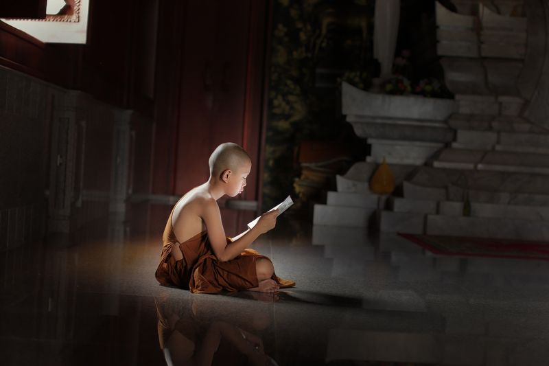 monk; buddhist; burma; robe; outdoor; tree; pilgrimage; children; two; green; red; burmese; culture; bagan; male; summer; umbrella; novice; people; ethnic; traditional; lesson; teaching; buddhism; asia; faith; belief; religious; learning; small; young; tr Novice monk learning in Temple.photo preview
