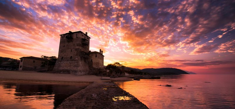 ouranoupolis, sunrise, tower, sea, sky, clouds, stone, water, shoadows Ouranoupolis\' sunrisephoto preview