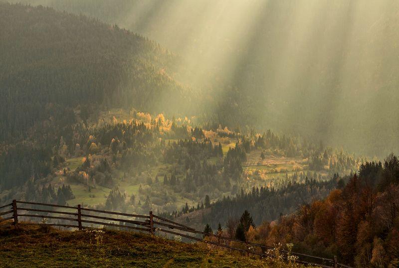 карпаты, горы, осень, солнце, луч Луч солнца золотого...photo preview
