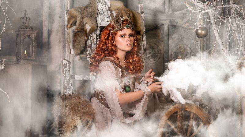 scandinavian miphology vikings portrait redhead girl scene artists clouds odin скандинавия мифология викинги рыжая девушка сцена актеры облака один alexandr chuprina александр чуприна Фригг photo preview