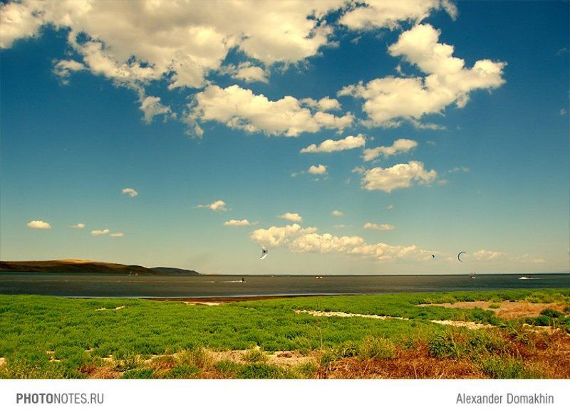 азовское море, море, пейзаж, горы, небо, облака, серферы, photonotes.ru Weekend на Азовеphoto preview