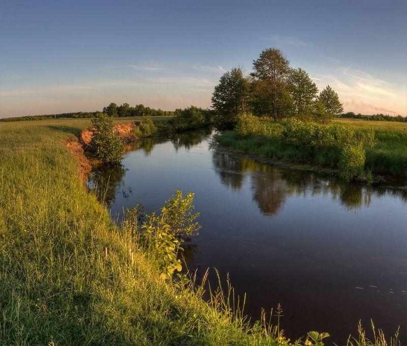 вечер, лето, река теплый вечерphoto preview