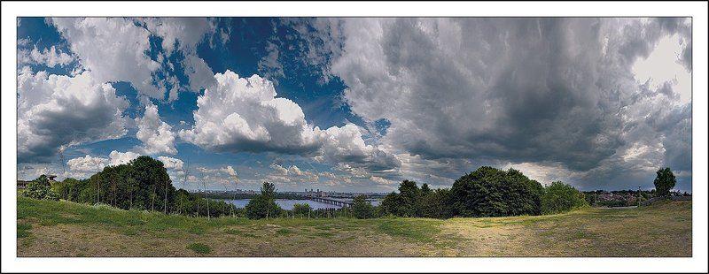 киев, холм, днепр, облака, панорама Пейзаж с облакамиphoto preview