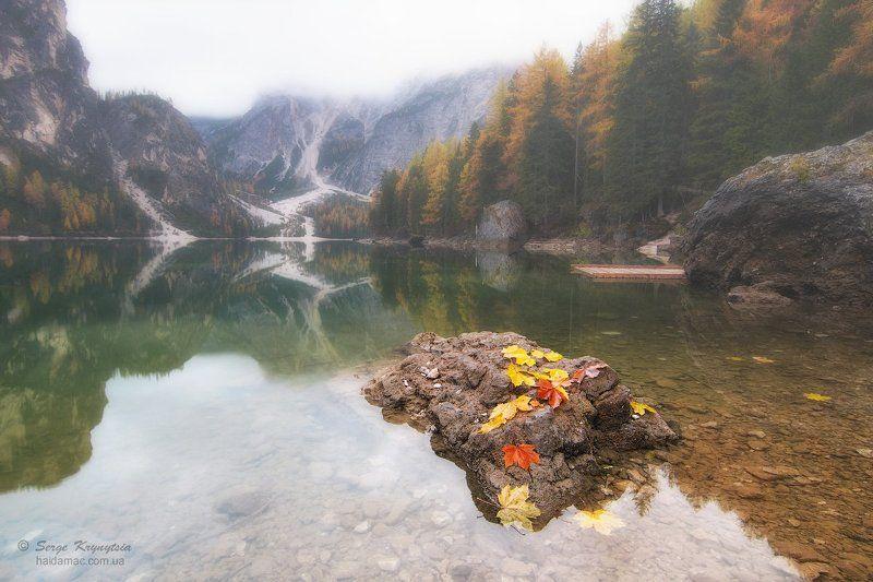 autumn, dolomiti, lake, reflection, water, leaves, yellow, red, stone Autumn on Lago di Braiesphoto preview