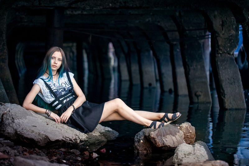 Girl, woman, water, blue, rocks beautiful, river, ship Морячкаphoto preview