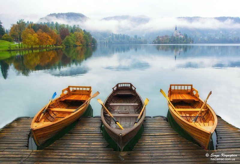 slovenia, bled, boats, calm, lake, tranquility, autumn Mooredphoto preview