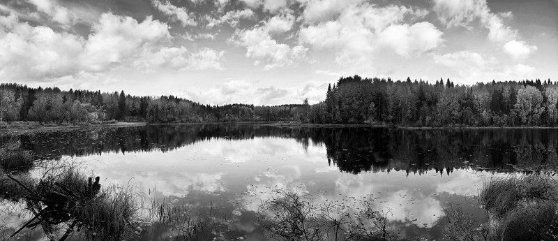 облака, озеро, лес, осень, вода, небо, панорама Сентябрьphoto preview