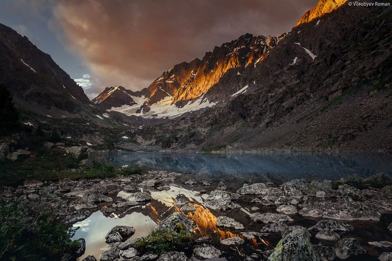 алтай, облака , горное озеро, горный алтай, небо , озеро, пейзаж , горы ,рассвет Озеро Куйгукphoto preview