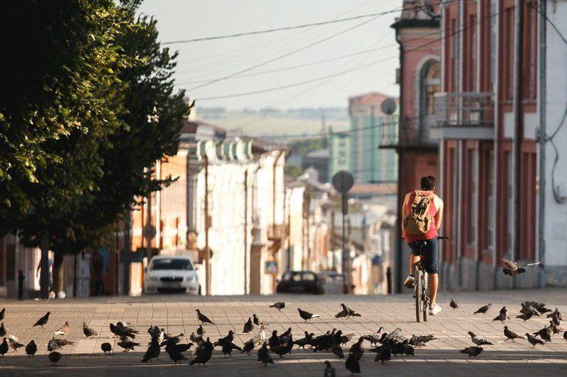 велосипед, город, свет, велосипедист, Елецphoto preview