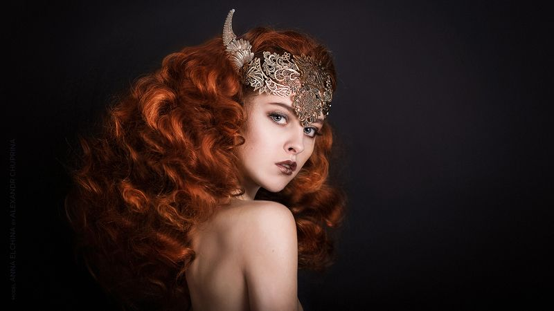 girl portrait art viking valkirie redhead redhair alexandr chuprina девушка портрет арт викинг валькирия рыжая рыжеволосая александр чуприна Red Vikingphoto preview